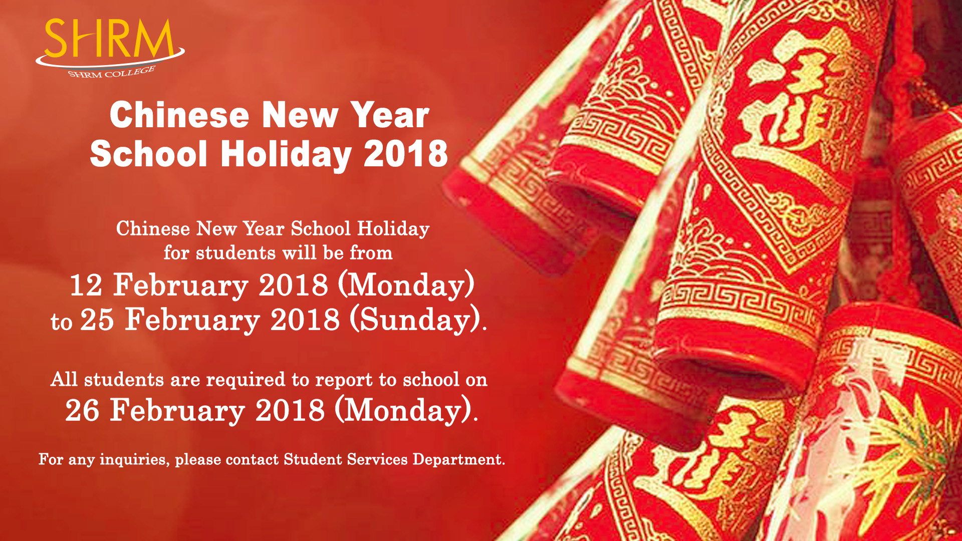 cny school holiday poster 2018 - Chinese New Year Holiday